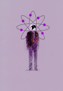 Businessman with atom symbol circling globe head - Businessman with atom symbol circling globe head