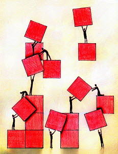 Business people working together moving red squares