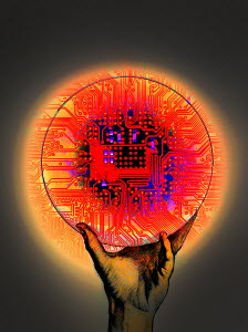 Hand holding red glowing circuit board in circle - Hand holding red glowing circuit board in circle