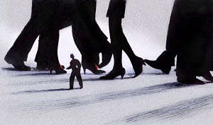 Small businessman walking under large business people