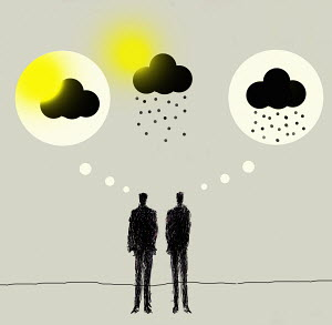 Contrasting sun and rain clouds in thought bubbles above businessmen - Contrasting sun and rain clouds in thought bubbles above businessmen