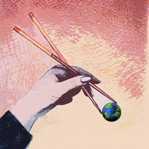 Large human hand holding globe with chopsticks - Large human hand holding globe with chopsticks