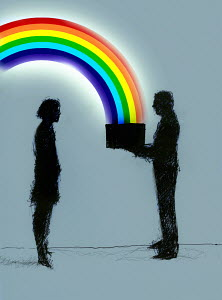 Businessman giving businesswoman box with rainbow