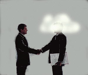 Businessman shaking hands with man with head in clouds