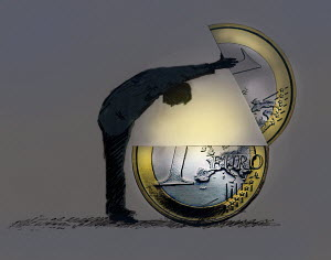 Man looking inside large Euro coin