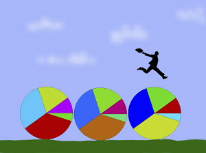 Businessman jumping over row of pie charts