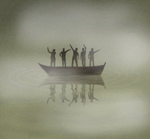 People on boat lost in fog pointing in different directions - People on boat lost in fog pointing in different directions