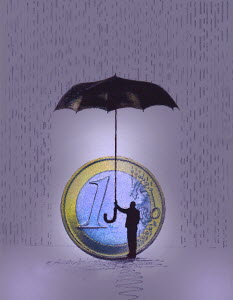 Man protecting Euro coin from rain with umbrella - Man protecting Euro coin from rain with umbrella