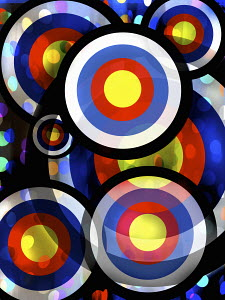 Abstract pattern of overlapping bright color targets