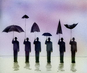 Man sheltering under umbrella side by side with men holding different useless umbrellas - Man sheltering under umbrella side by side with men holding different useless umbrellas