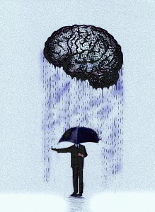 Businessman with umbrella checking rain from brain - Businessman with umbrella checking rain from brain