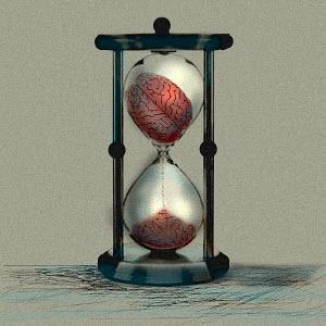 Brain crumbling in hourglass