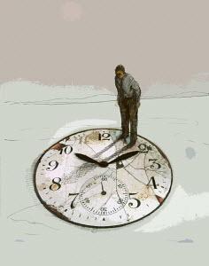 Senior businessman standing on top of large crumbling clock