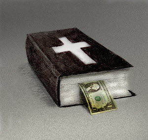 One dollar bill poking out of bible