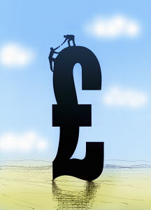 Man helping colleague climb to top of British pound sign
