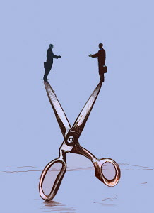 Businessmen reaching to shake hands across gap between scissor blades