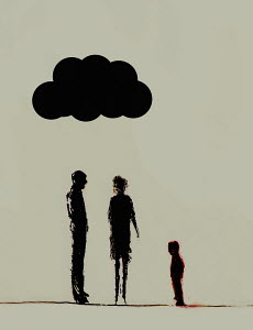 Storm cloud over parents looking at child
