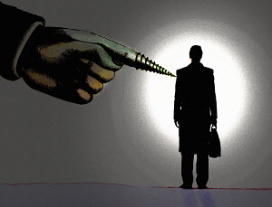 Large hand with screw finger pointing to businessman - Large hand with screw finger pointing to businessman