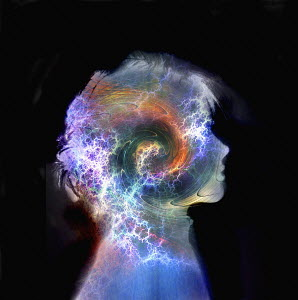 Swirling colors and sparks inside of boy's head