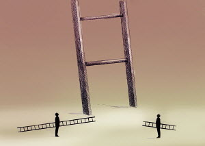 Two men with small ladders looking up at large ladder