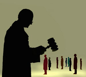 Judge with gavel over group of people - Judge with gavel over group of people