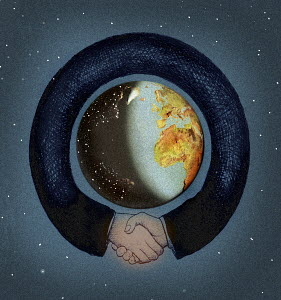 Arms shaking hands surrounding the globe