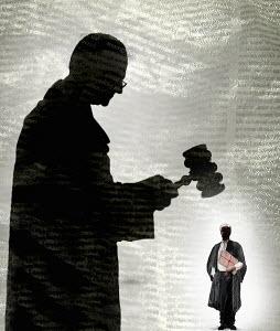 Judge holding gavel above barrister - Judge holding gavel above barrister