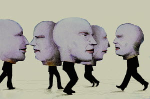 Businessmen with big heads