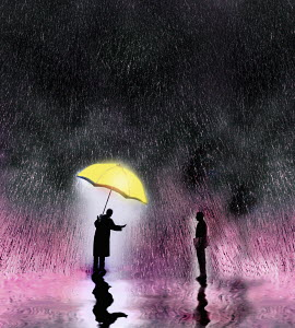 Businessman sheltering under umbrella offering help to man in pouring rain - Businessman sheltering under umbrella offering help to man in pouring rain