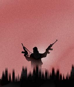 Terrorist brandishing guns over city skyline