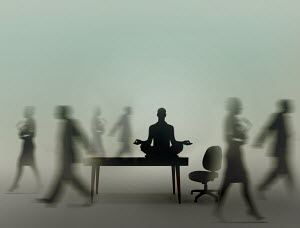 Calm businessman practicing yoga meditation in office while colleagues are rushing around - Calm businessman practicing yoga meditation in office while colleagues are rushing around