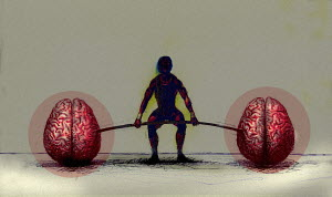 Man exercising with human brain barbell