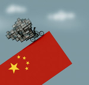 Man on overloaded bicycle struggling to ascend steep slope on tilted Chinese flag