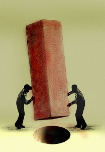 Two men trying to fit a square peg into a round hole