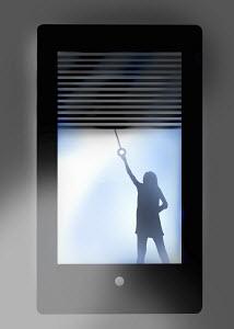 Girl closing blinds on smart phone screen