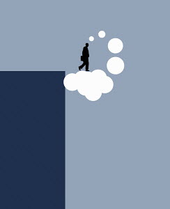 Businessman blue sky thinking stepping off cliff on to thought bubble cloud