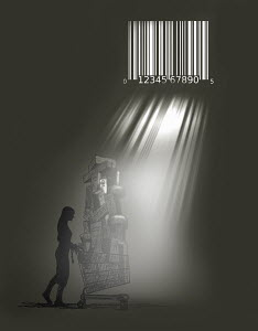 Light beams through bar code prison bars shining on woman with huge pile of shopping in shopping cart