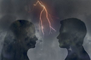 Forked lightning between couple looking at each other face to face - Forked lightning between couple looking at each other face to face