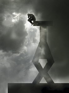 Man as The Thinker sitting on top of single word 'tax' - Man as The Thinker sitting on top of single word 'tax'