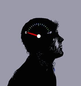 Gauge on empty inside of man's head