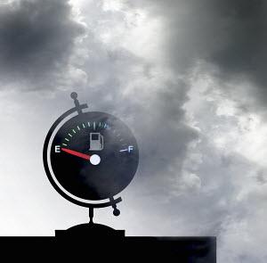 Empty fuel gauge on globe - Empty fuel gauge on globe