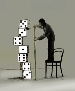 Businessman standing on chair measuring pile of dice