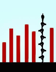 Man standing on top of human pyramid forming column in bar chart