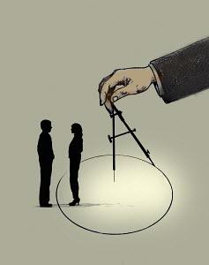 Hand drawing circle separating man and woman - Hand drawing circle separating man and woman