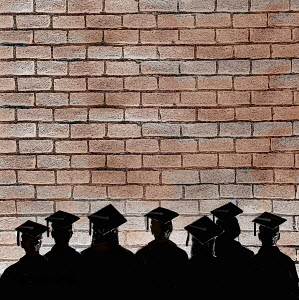 Row of graduate students staring at a brick wall