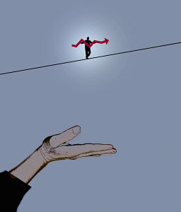 Man walking tightrope using line graph pole above hand held out as safety net