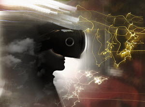 Man wearing virtual reality headset among light trails