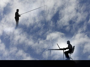 Man fishing with hook over man working on computer