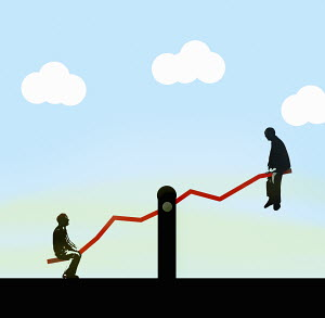 Businessmen on opposite ends of line graph seesaw