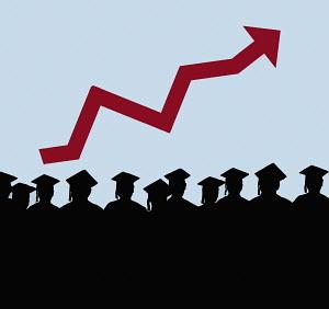 Rising arrow graph above row of graduates